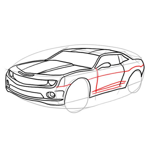как нарисовать машину chevrolet chevelle поэтапно