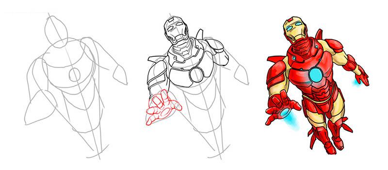Супергерои: как нарисовать Железного Человека (IronMan) Лего Сити Инструкции