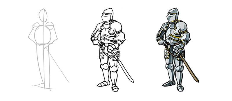 Рисуем рыцаря в доспехах