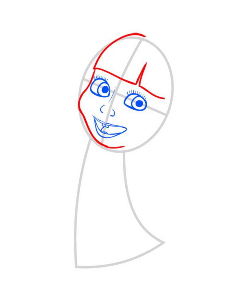 Как нарисовать Машу поэтапно карандашом 04