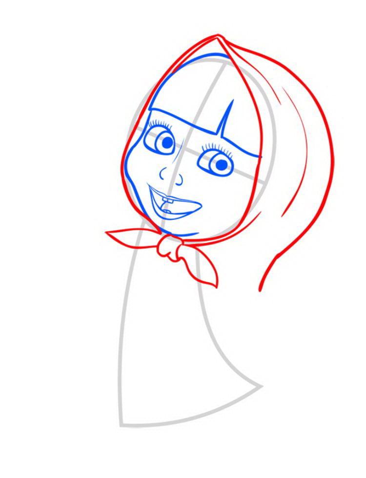Как нарисовать Машу поэтапно карандашом 05