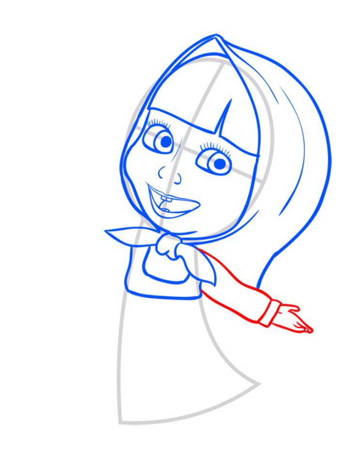 Как нарисовать Машу поэтапно карандашом 07
