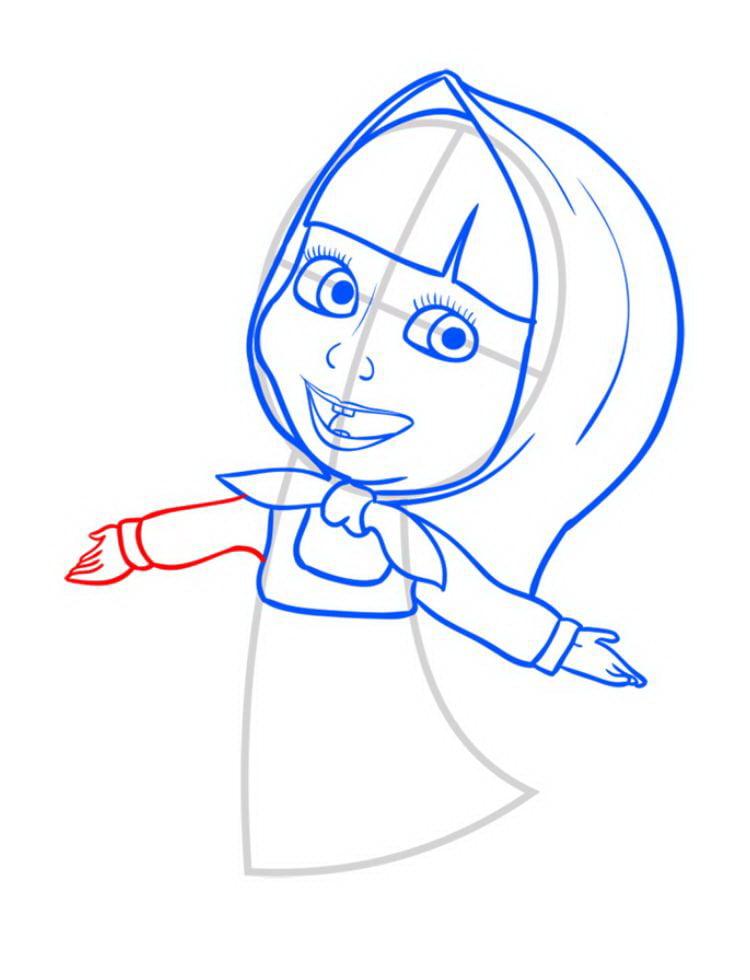 Как нарисовать Машу поэтапно карандашом 08