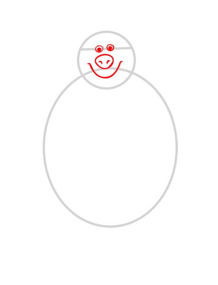 Как нарисовать Медведя Мишу - шаг 02