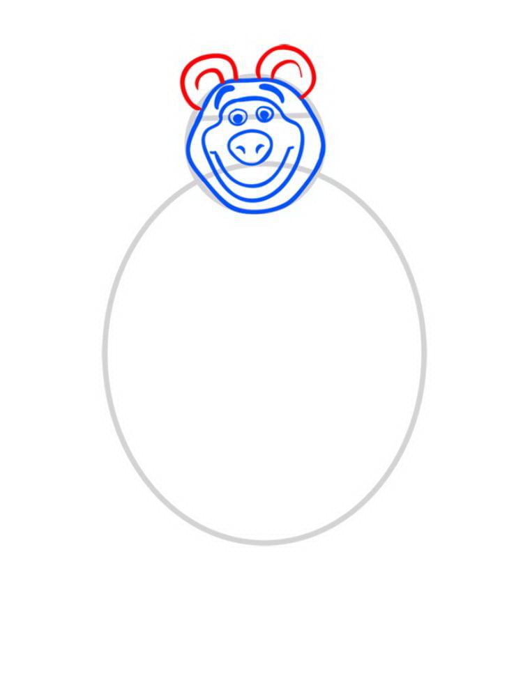 Как нарисовать Медведя Мишу - шаг 04