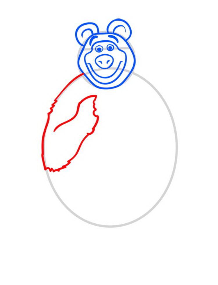 Как нарисовать Медведя Мишу - шаг 05
