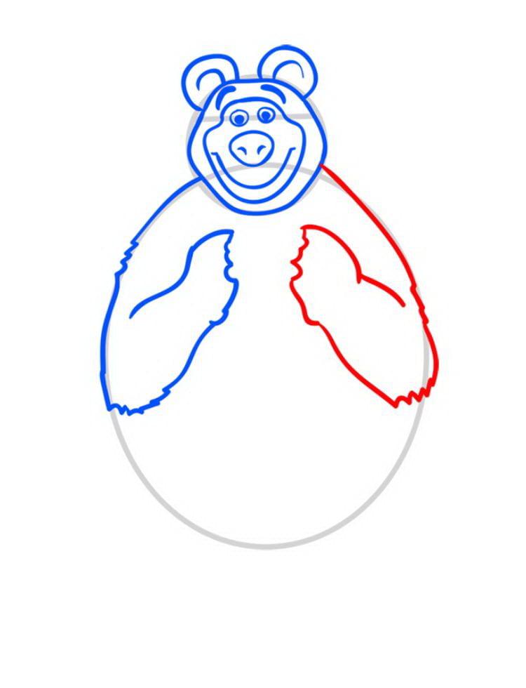 Как нарисовать Медведя Мишу - шаг 06