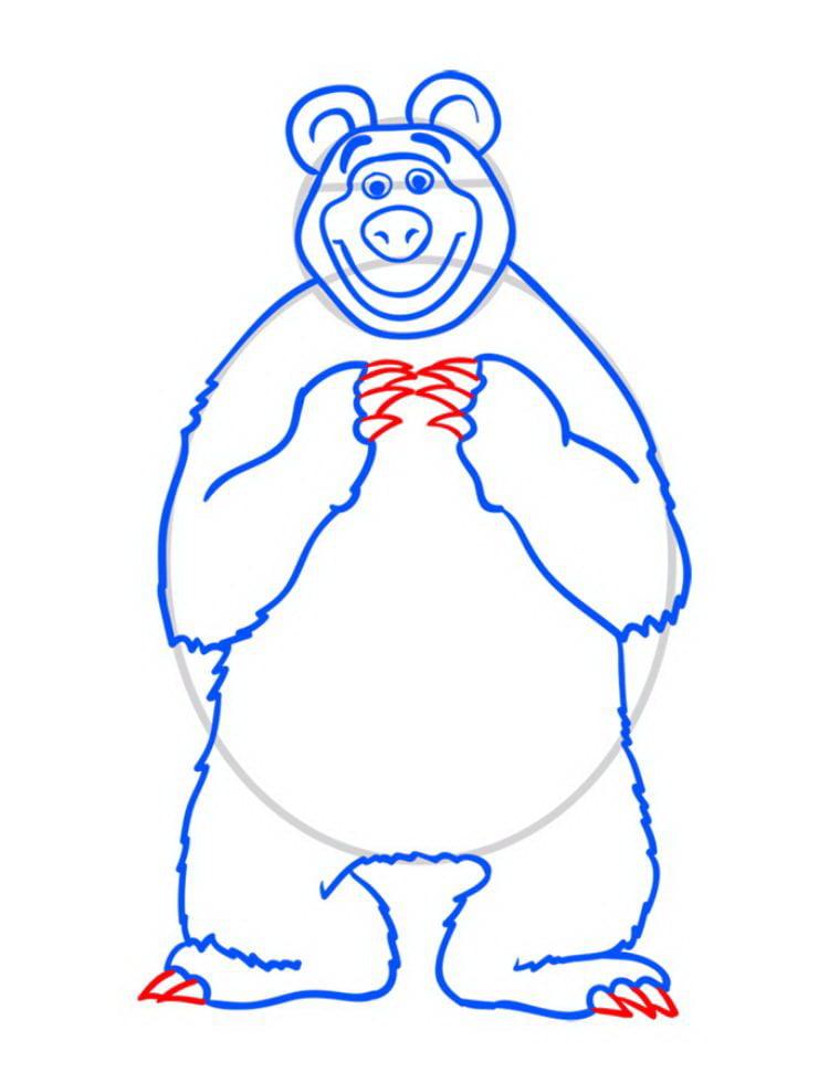 Как нарисовать Медведя Мишу - шаг 09