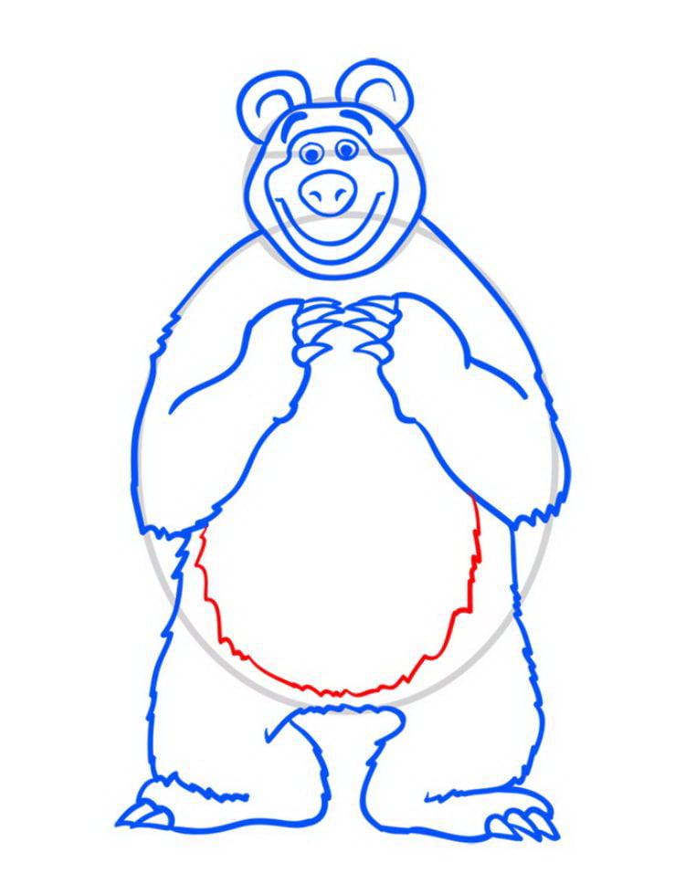 Как нарисовать Медведя Мишу - шаг 10